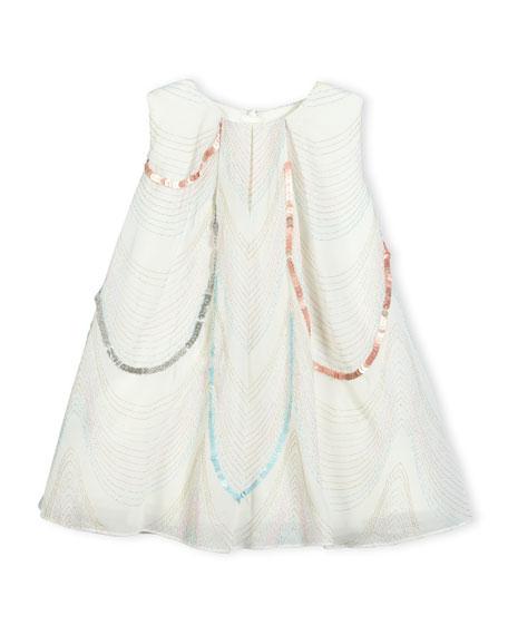 Billieblush Sleeveless Scalloped Organza Swing Dress, White, Size