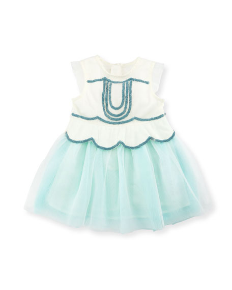 Billieblush Sleeveless Sequin Tulle Dress, White, Size 2-3