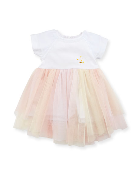 Billieblush Short-Sleeve Jersey & Tulle Dress, White/Pink, Size