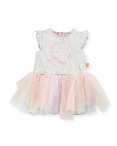 Billieblush Jersey Tulle-Skirt Romper, Gray, Size 12-18 Months