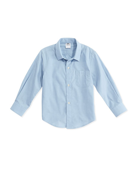 Appaman Long-Sleeve Cotton Pin-Dot Shirt, Blue, Size 2-14