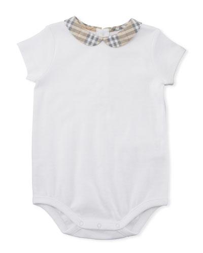 Izzy Cotton Bodysuit w/ Check Peter Pan Collar, Size Newborn-24M