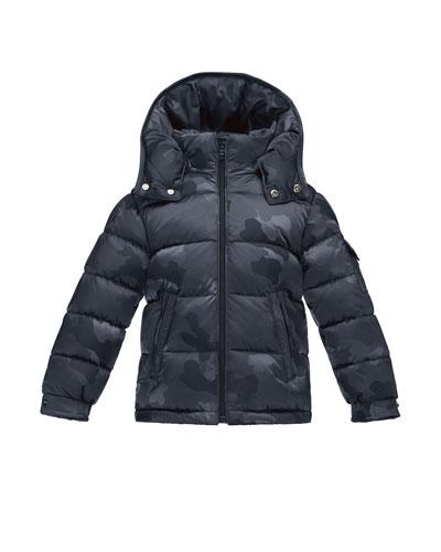 Maya Camo Puffer Coat, Navy, Size 4-6