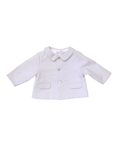 Pique Three-Button Jacket, Gray, Size 3-9 Months