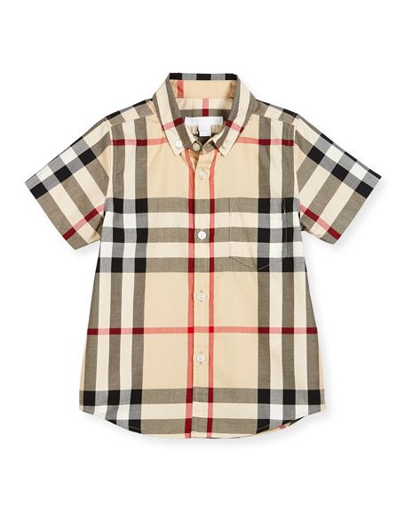 Burberry Fred Mini Short-Sleeve Check Shirt, New Classic,