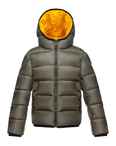 Serge Hooded Puffer Coat, Olive, Size 8-14