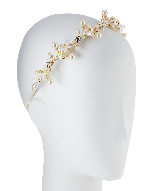 Bari Lynn Girls Jeweled Headband, White/Golden