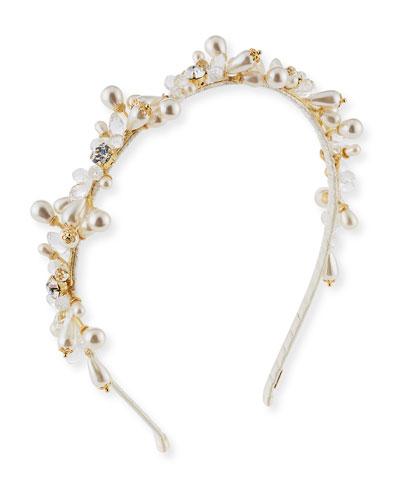 Girls' Jeweled Headband, Golden/White