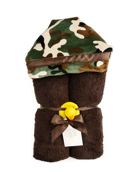 Swankie Blankie Camouflage Hooded Towel, Brown