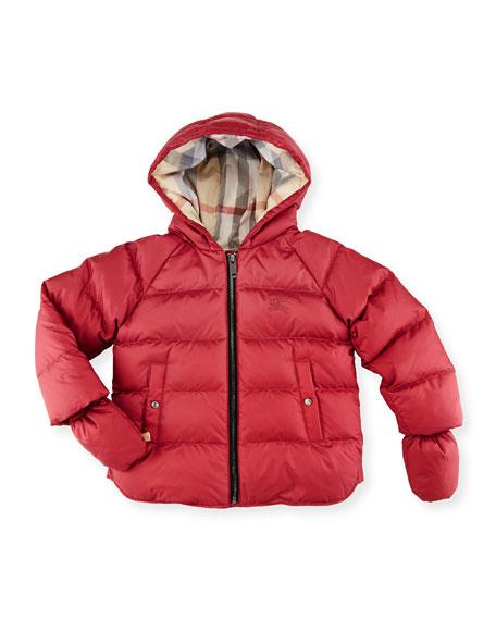 Burberry Rilla Hooded Raglan Puffer Jacket, Peony Rose,