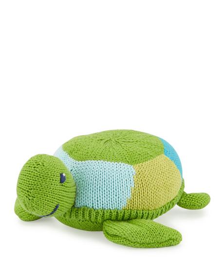 Soft Plush Turtle Rattle, Green