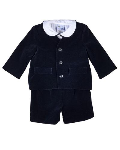 Velour Eton Suit w/ Shirt, Size 12-24 Months