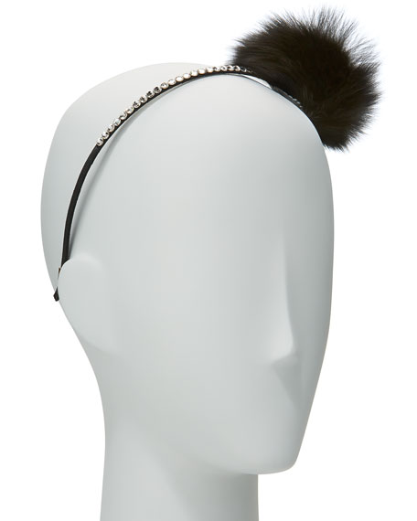 Girls' Rhinestone & Fox Fur Pompom Headband, Black