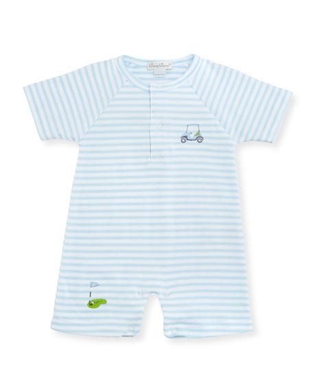 Mini Golf Striped Pima Shortall, Light Blue, Size 3-24 Months