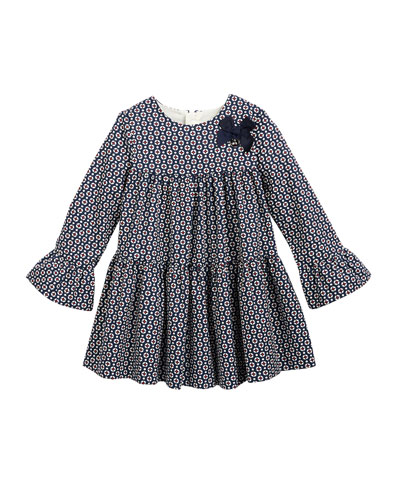 Short-Sleeve Flannel A-Line Dress, Navy, Size 3-24 Months