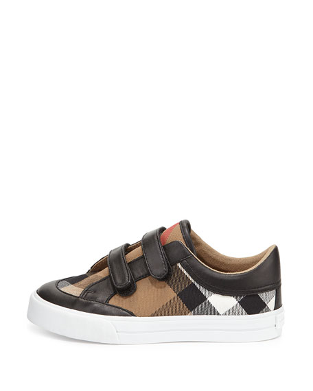 Heacham Mini Check Leather-Trim Sneaker, Black/Tan, Youth Sizes 2-4