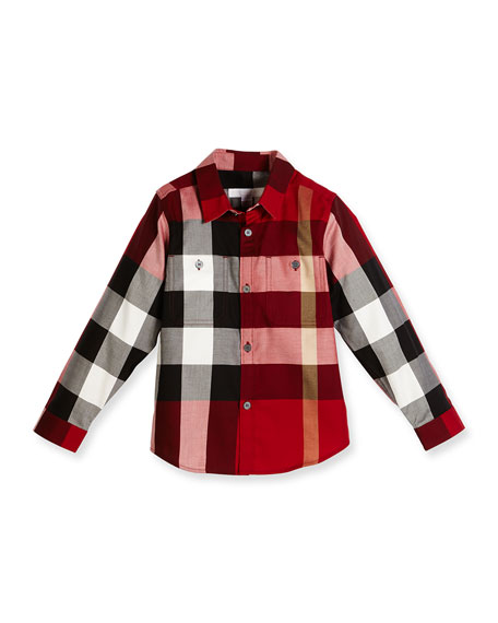 Burberry Camber Poplin Check Shirt, Parade Red, Size