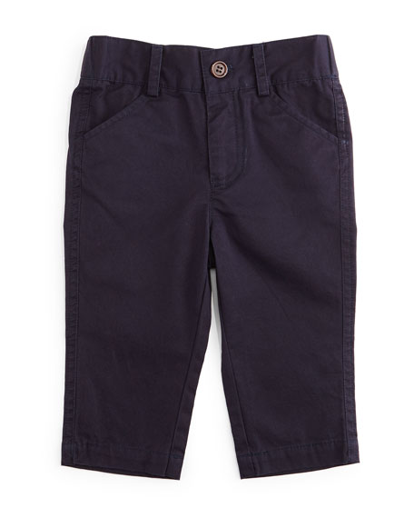 Andy & Evan Twill Straight-Leg Pants, Navy, Size