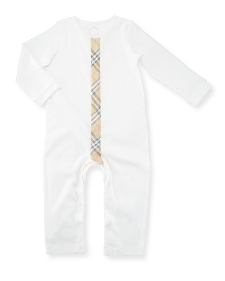 Burberry Check-Stripe Cotton Footie Pajama, Size Newborn-18