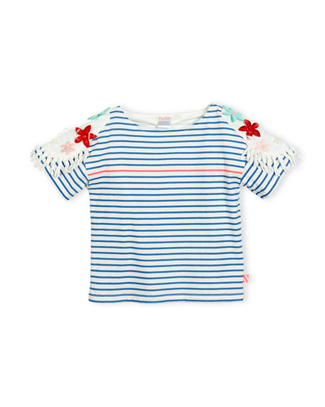 Billieblush Short-Sleeve Striped Cotton Jersey Tee, Blue/White,
