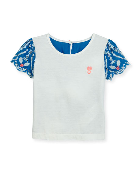 Billieblush Short-Sleeve Embroidered Poplin & Jersey Tee,