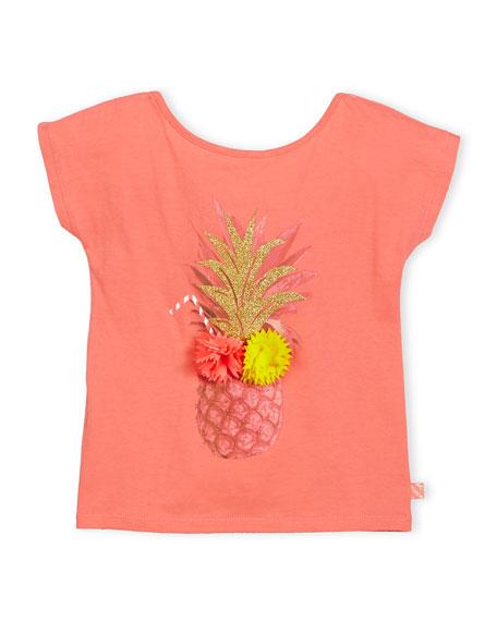 Billieblush Cap-Sleeve Pineapple Jersey Tee, Pink, Size 4-8