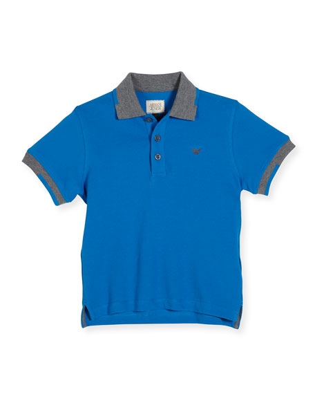 Armani Junior Tipped Basic Polo Shirt, Blue, Size