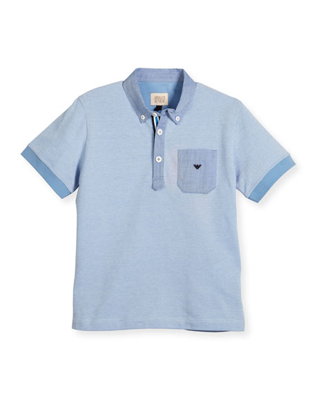 Armani Junior Short-Sleeve Pique Polo Shirt, Turquoise, Size