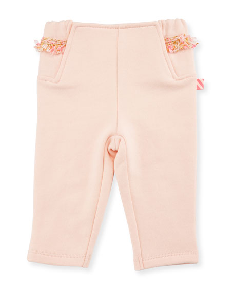 Billieblush Fringe Jersey Sweatpants, Rose, Size 12-18 Months