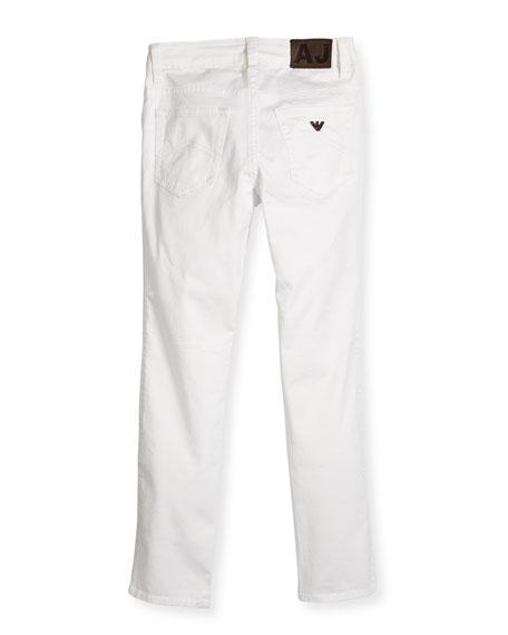 Slim-Fit Stretch Chino Pants, White, Size 4-12