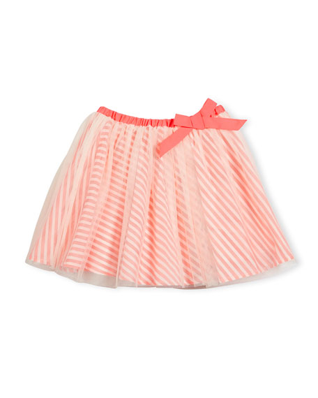 Billieblush Striped-Underlay Tulle A-Line Skirt, Pink, Size 4-8