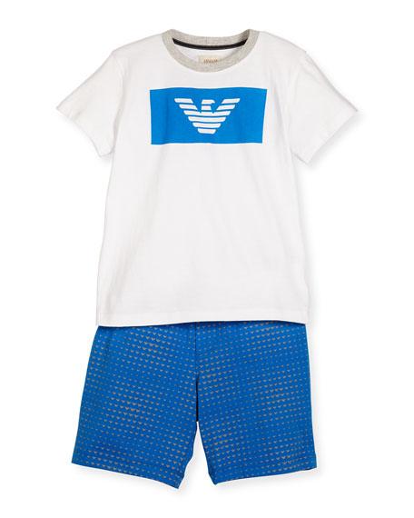 Armani Junior Crewneck Jersey Tee w/ Printed Shorts,