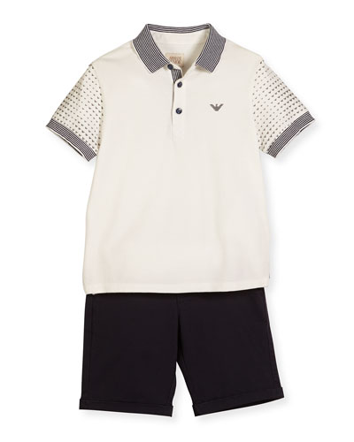 Printed-Sleeve Polo Shirt w/ Shorts, White, Size 4-12