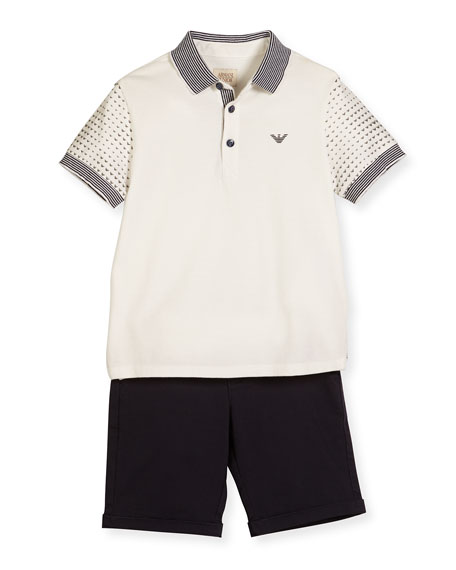 Armani Junior Printed-Sleeve Polo Shirt w/ Shorts, White,
