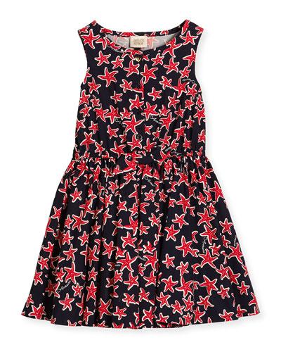 Sleeveless Smocked Starfish Dress, Multicolor, Size 4-8
