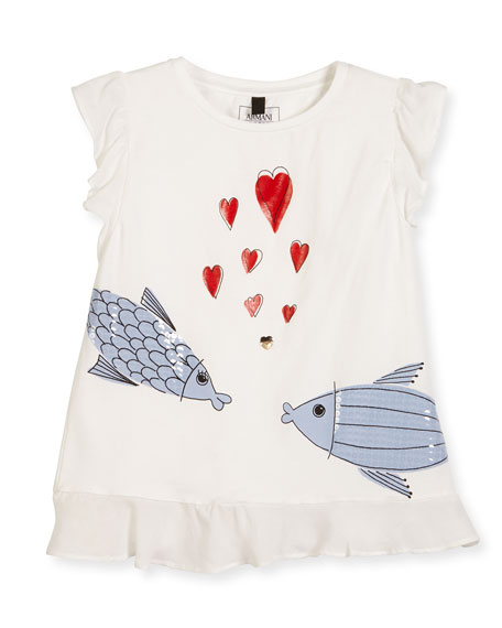 Armani Junior Kissing Fish Stretch Jersey Tee, White,