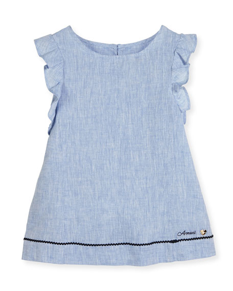Armani Junior Ruffle-Trim Linen A-Line Dress, Blue, Size