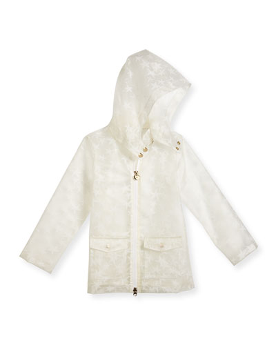 Translucent Starfish Raincoat, White, Size 4-8