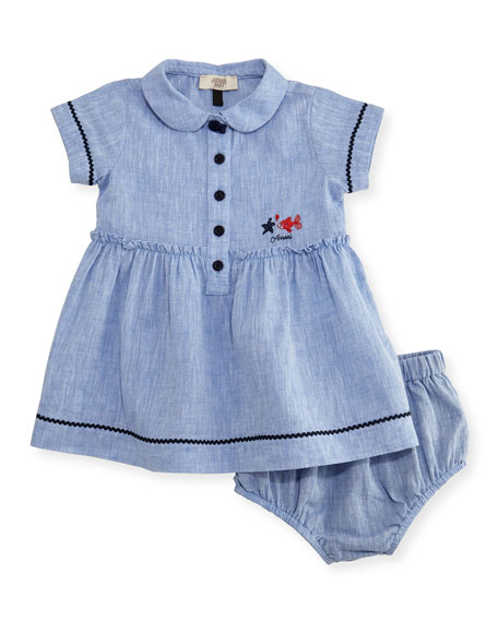 Armani Junior Short-Sleeve Smocked Linen Dress w/ Bloomers,