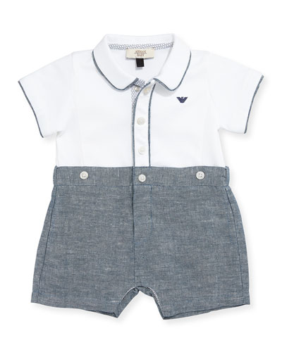 Pique & Chambray Shortall, Blue, Size 3-12 Months