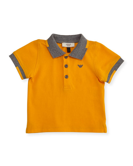 Armani Junior Short-Sleeve Basic Colorblock Pique Polo Shirt,