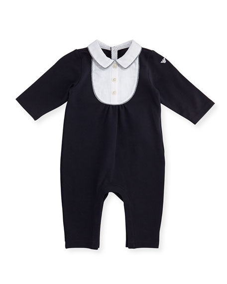 Armani Junior Long-Sleeve Jersey & Poplin Coverall, Blue,