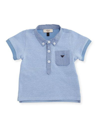 Short-Sleeve Pique Polo Shirt, Turquoise, 6-24 Months