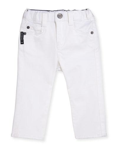 Slim-Fit Stretch Denim Jeans, White, Size 6-24 Months