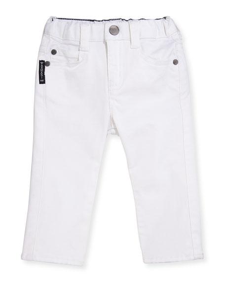 Armani Junior Slim-Fit Stretch Denim Jeans, White, Size