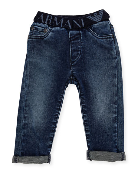 Armani Junior Stretch Denim Slim-Fit Jeans, Navy, Size