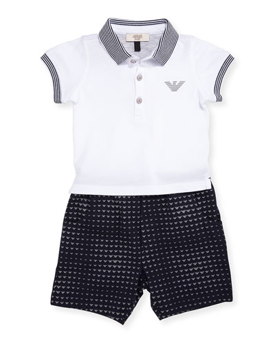 Short-Sleeve Polo Shirt w/ Printed Shorts, Blue, Size 6-24 Months