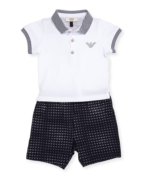 Armani Junior Short-Sleeve Polo Shirt w/ Printed Shorts,