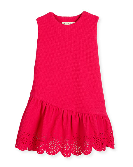 Helena Sleeveless Jacquard Laser-Cut Dress, Fuchsia, Size 2-6