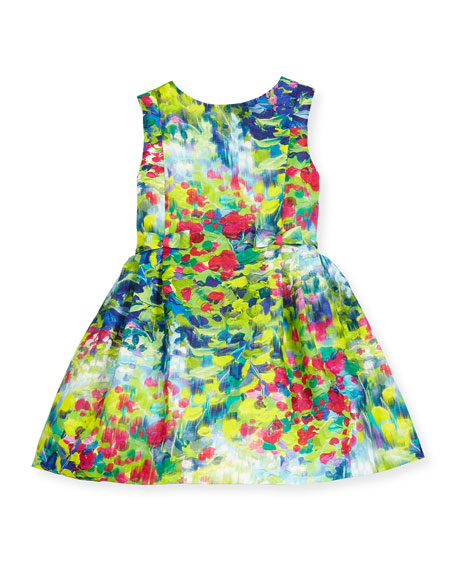 Helena Sleeveless Floral Linen Dress, Multicolor, Size 2-6